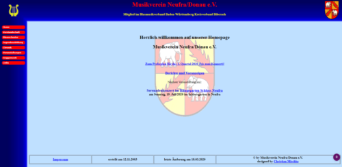 Bisherige Webseite im klassischen Stil
